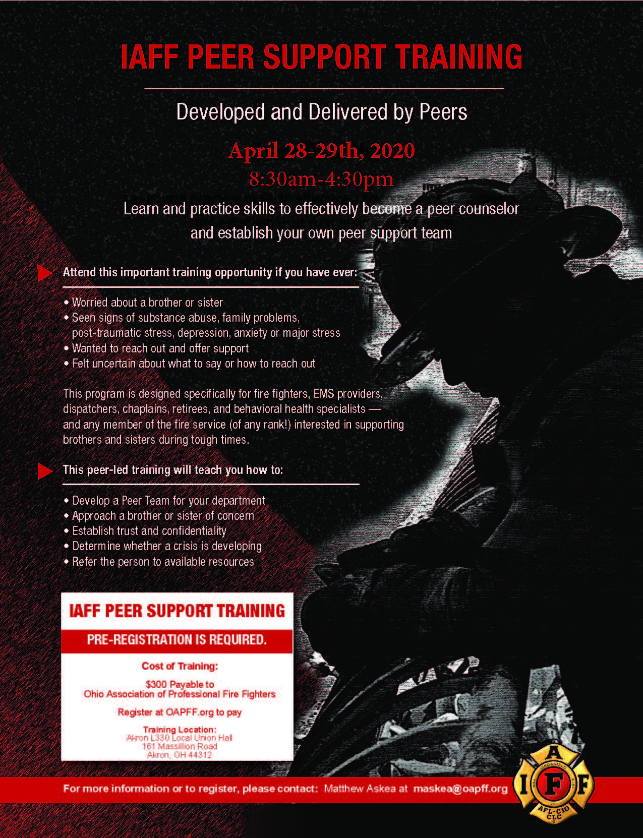 IAFF PEER SUpport Training flyer