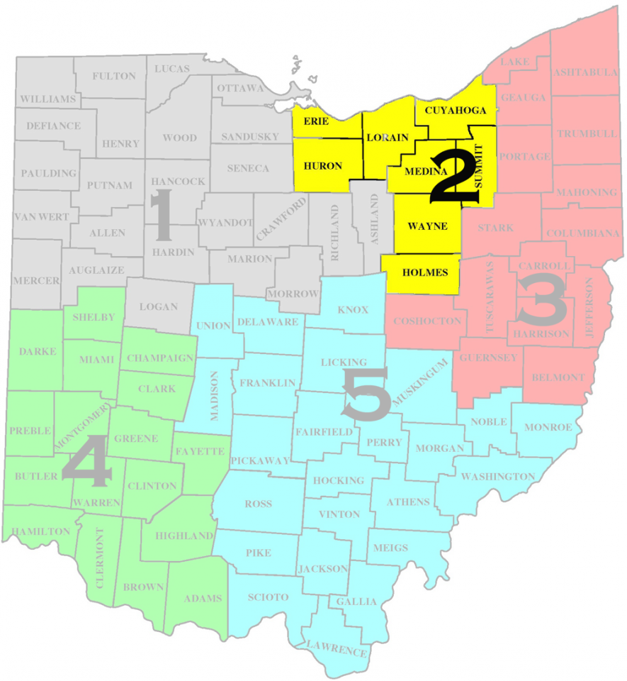 Map of North Central Ohio District-2